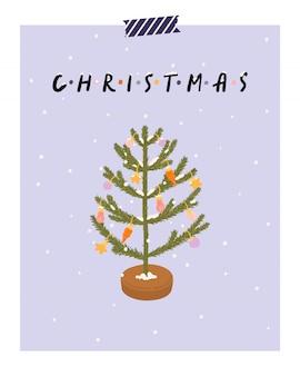 Tarjeta de felicitación de navidad con elementos de invierno e inscripción de vacaciones en estilo hygge