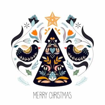 Tarjeta de felicitación de navidad con elementos tradicionales escandinavos