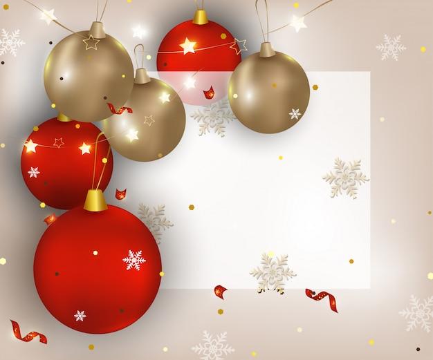 Tarjeta de felicitación de navidad y feliz año nuevo. fondo con bolas de navidad, luces, confeti, copos de nieve, lugar para el texto. pancarta para ventas, promociones, invitaciones para fiestas ...