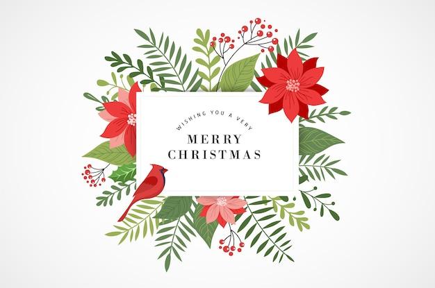 Tarjeta de felicitación de navidad feliz, banner y fondo en estilo elegante, moderno y clásico con hojas, flores y aves