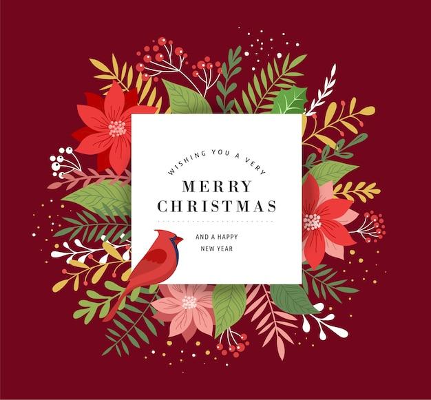 Tarjeta de felicitación de navidad feliz, banner y fondo con hojas, flores y un pájaro