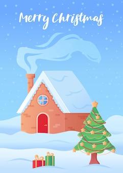 Tarjeta de felicitación de navidad feliz casa de invierno con chimenea ahumada