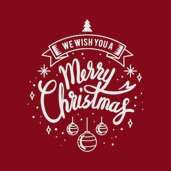 Tarjeta de felicitación de navidad feliz con letras