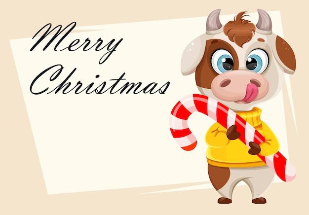 Tarjeta de felicitación de navidad feliz con toro divertido