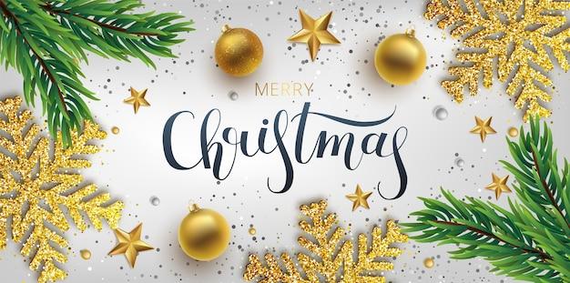Tarjeta de felicitación de navidad, fondo. bola navideña dorada y plateada y abeto rama