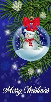 Tarjeta de felicitación de navidad con globo de nieve