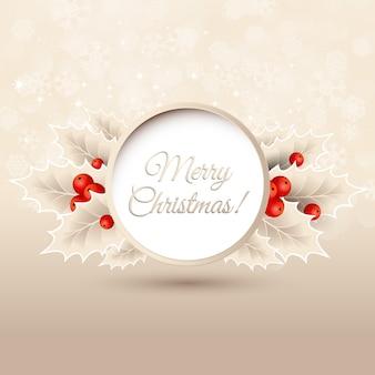 Tarjeta de felicitación de navidad con holly
