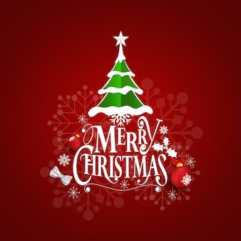 Tarjeta de felicitación de navidad con letras de feliz navidad