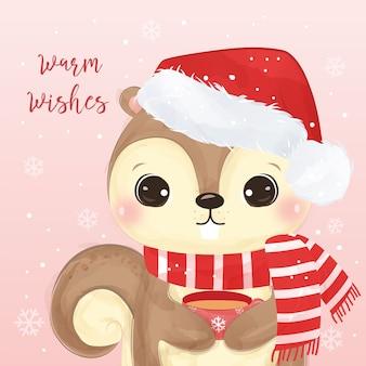 Tarjeta de felicitación de navidad con linda ardilla sosteniendo una taza. ilustración de fondo de navidad.