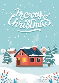 Tarjeta de felicitación de navidad con linda casa y letras