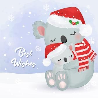 Tarjeta de felicitación de navidad con linda mamá y bebé koala. ilustración de fondo de navidad.