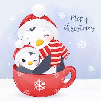 Tarjeta de felicitación de navidad con linda mamá y pingüino bebé. ilustración de fondo de navidad.
