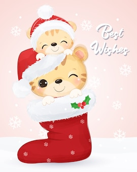Tarjeta de felicitación de navidad con linda mamá y tigre bebé. ilustración de fondo de navidad.