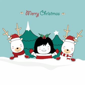 Tarjeta de felicitación de navidad con lindo bebé reindee y linda chica de personaje con traje de santa.