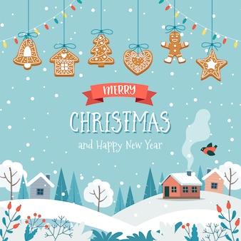 Tarjeta de felicitación de navidad con lindo paisaje y colgando galletas de jengibre.