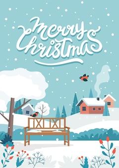 Tarjeta de felicitación de navidad con lindo paisaje y letras.