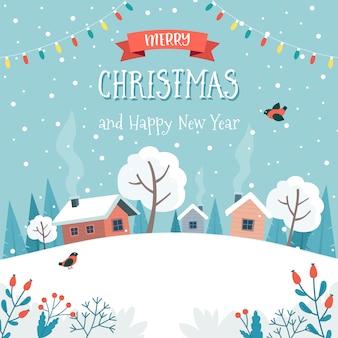Tarjeta de felicitación de navidad con lindo paisaje.