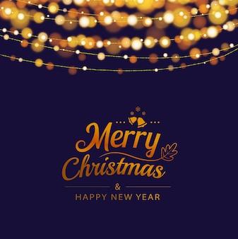 Tarjeta de felicitación de navidad con luces bokeh en fondo oscuro
