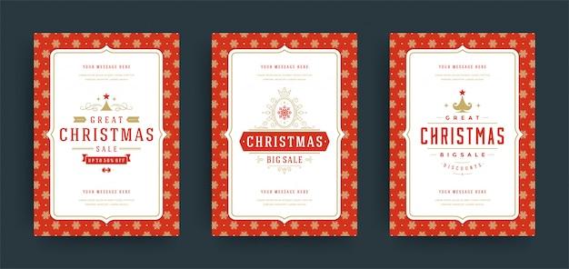 Tarjeta de felicitación de navidad con marco de texto