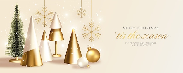 Tarjeta de felicitación de navidad moderna con árbol de navidad dorado realista
