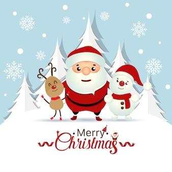 Tarjeta de felicitación de navidad con la navidad santa claus, muñeco de nieve y renos. ilustración vectorial