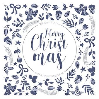 Tarjeta de felicitación de navidad ornamentales con elementos dibujados a mano