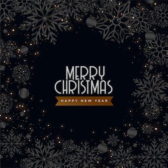 Tarjeta de felicitación de navidad oscura negra con decoración de copos de nieve