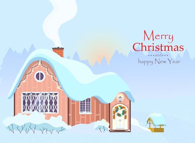 Tarjeta de felicitación de navidad paisaje de mañana de invierno
