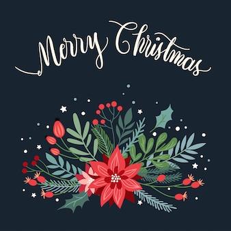 Tarjeta de felicitación de navidad con plantas de temporada y letras a mano.