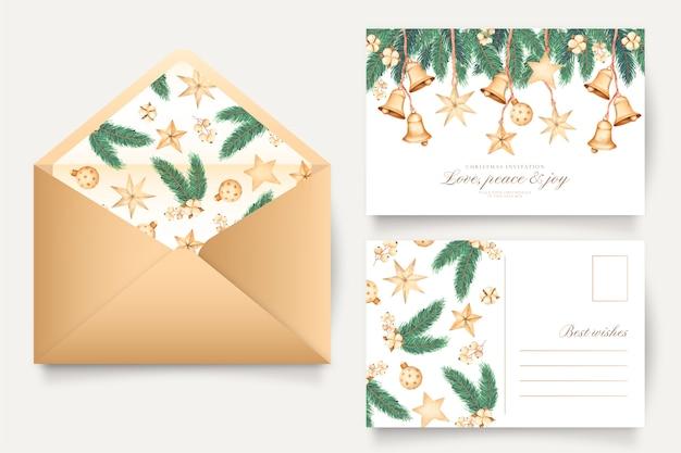 Tarjeta de felicitación de navidad y plantilla de sobre
