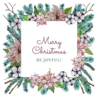 Tarjeta de felicitación de navidad con ramas coníferas y hermosas flores