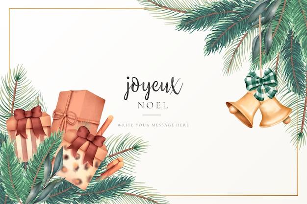 Tarjeta de felicitación de navidad con regalos y adornos