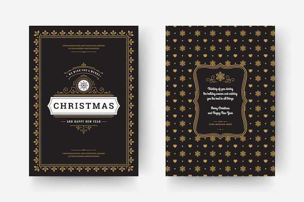 Tarjeta de felicitación de navidad retro