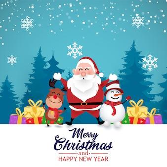 Tarjeta de felicitación de navidad con santa claus, ciervos y muñeco de nieve