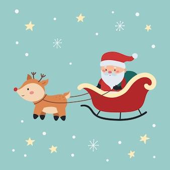 Tarjeta de felicitación de navidad con santa claus, ciervos y trineo.