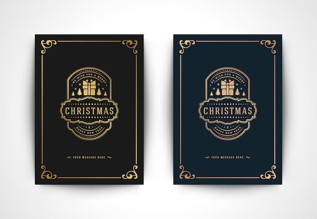 Tarjeta de felicitación de navidad con silueta de caja de regalo
