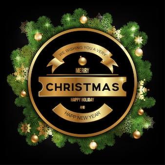 Tarjeta de felicitación de navidad sobre fondo negro