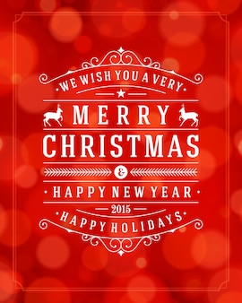 Tarjeta de felicitación de navidad tipografía retro y fondo claro