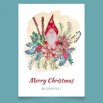 Tarjeta de felicitación de navidad con troll escandinavo y hojas
