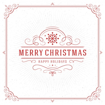 Tarjeta de felicitación de navidad vintage tipográfica