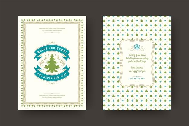 Tarjeta de felicitación de navidad vintage tipográfico, adornos ornamentados símbolos con deseos de vacaciones de invierno, adornos y marco.