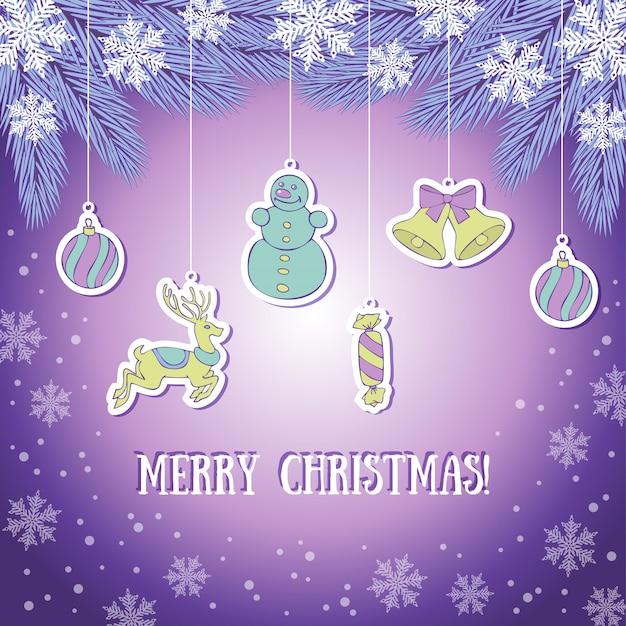 Tarjeta de felicitación de navidad violeta