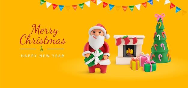 Tarjeta de felicitación navideña amarilla con plastilina santa y adornos navideños