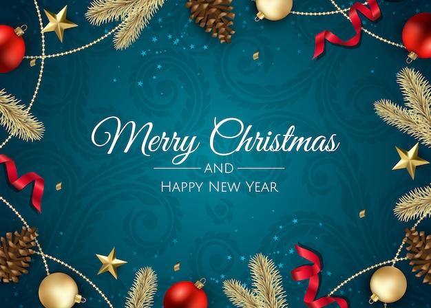 Tarjeta de felicitación navideña con decoraciones navideñas
