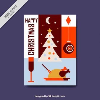Tarjeta de felicitación navideña con elementos tradicionales