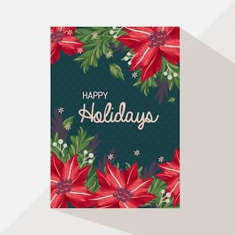 Tarjeta de felicitacion navideña floral
