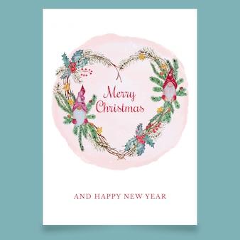 Tarjeta de felicitación navideña en forma de corazón con duendes escandinavos