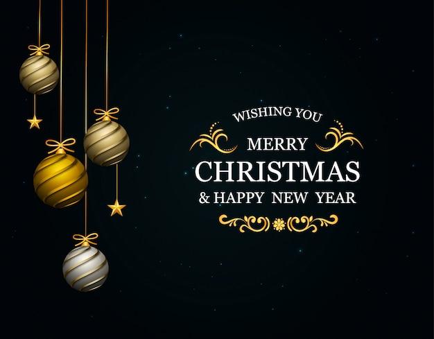 Tarjeta de felicitación navideña de lujo premium con letras navideñas