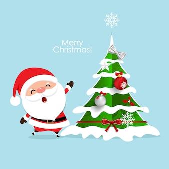 Tarjeta de felicitación navideña con navidad santa claus