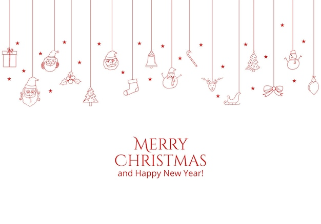 Tarjeta de felicitación navideña con objetos navideños planos